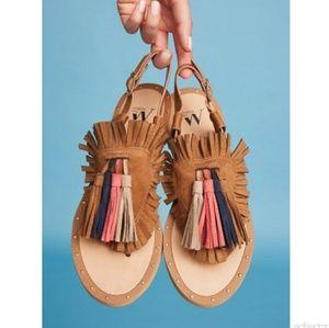 Vanessa Wu Leather Fringed Sandals